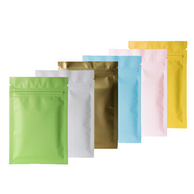 100 pc New Flat Matte Mylar Zip Lock Resealable Bags Pouches Variety Colors Size