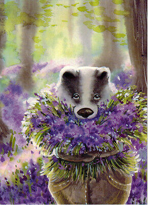 BADGER COMES WITH FLOWERS Modern Russian postcard