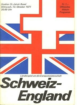 SWITZERLAND v England (Euro Champs Qualifier) 1971