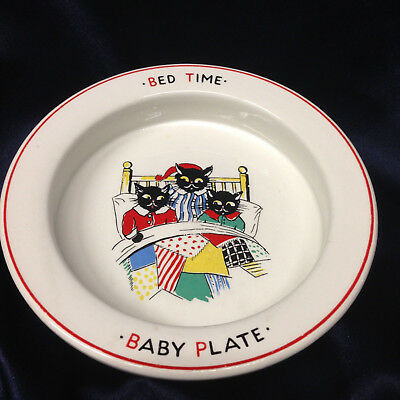 """Burleigh Burgess Leigh Bed Time Baby Plate 6 7/8"""" Three Cats In A Bed Pajamas"""