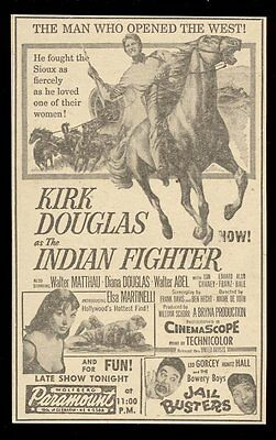 1955 Kirk Douglas photo The Indian Fighter movie print ad