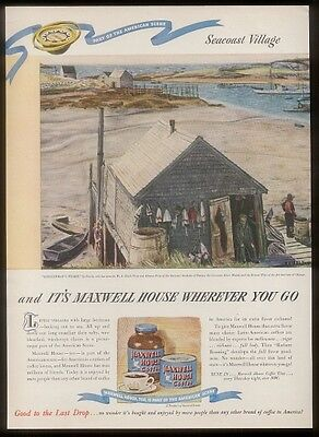 1946 lobster lobsterman wharf art Maxwell house Coffee ad