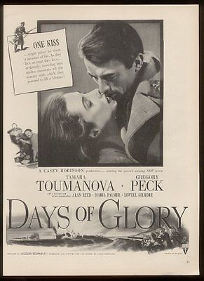 1944 Gregory Peck photo Days of Glory movie vintage print ad