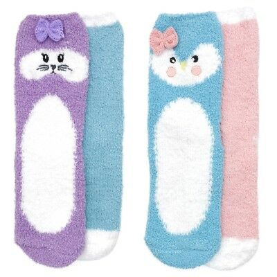 RJM Girls 2 Pack Slipper Socks with Animal Face