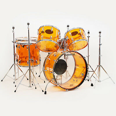 1977 Ludwig Vistalite John Bonham 6-Piece Drum Set Kit in Amber w/ Hardware