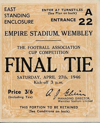 TICKET: FA CUP FINAL 1946: Derby County v Charlton - EXCELLENT