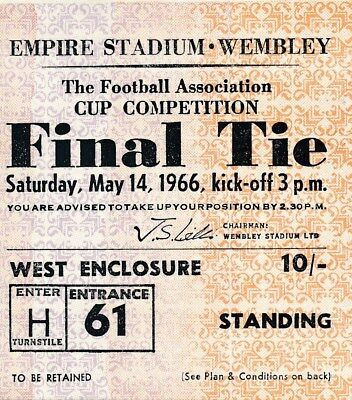 TICKET: FA CUP FINAL 1966 Everton v Sheffield Wednesday - EXCELLENT