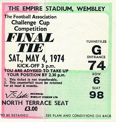 TICKET: FA CUP FINAL 1974 Newcastle v Liverpool - EXCELLENT