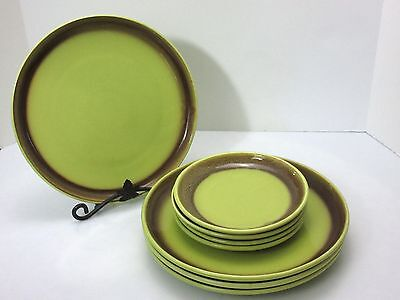 8 Bauer CALIFORNIA POTTERY Mission Moderne CHARTREUSE BROWN Dinner Dessert Plate