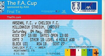 TICKET: FA CUP FINAL 2002: Chelsea v Arsenal - EXCELLENT