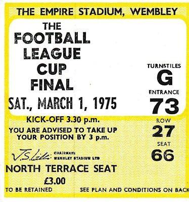 TICKET: LEAGUE CUP FINAL 1975 Norwich City v Aston Villa - EXCELLENT