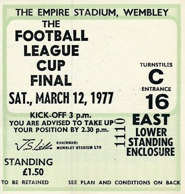 TICKET: LEAGUE CUP FINAL 1977 Everton v Aston Villa - EXCELLENT