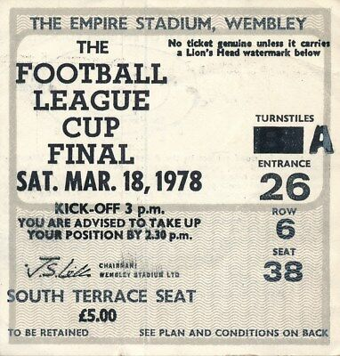 TICKET: LEAGUE CUP FINAL 1978: Nottingham Forest v Liverpool - EXCELLENT
