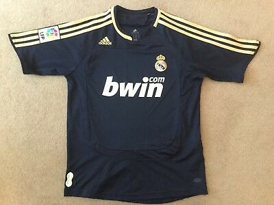 Real Madrid Away Shirt Size 'medium Boys' Dark Blue Adidas No Reserve