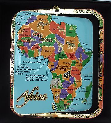Map of Africa Brass Ornament Black Leatherette Gift Box
