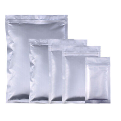 New Flat Silver Heavy Duty Mylar Zip Lock Resealable Bag Pouch Variety QTY Sizes