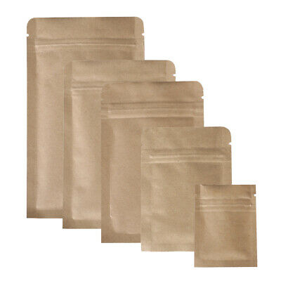 New Flat Brown Kraft Zip Lock Reclosable Mylar Bags Pouches Multiple QTY Sizes