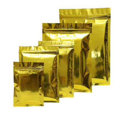 Flat Double-Sided Glossy Gold Mylar Zip Lock Resealable Bags Variety QTY Sizes