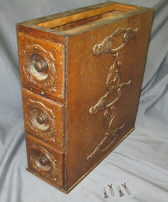 Right Antique Ornate Tiger Oak Singer Treadle Sewing Machine Triple Drawers