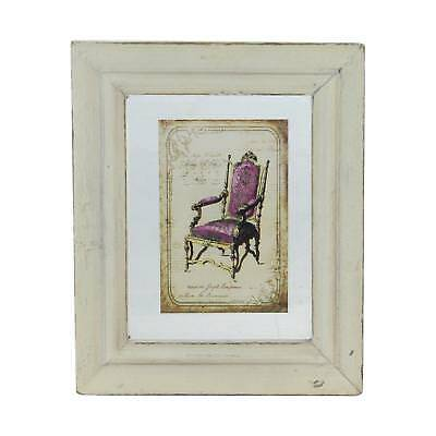 """7.25"""" x 6"""" Decorative Antique Style Beige and Pink Victorian Chair Print Framed"""