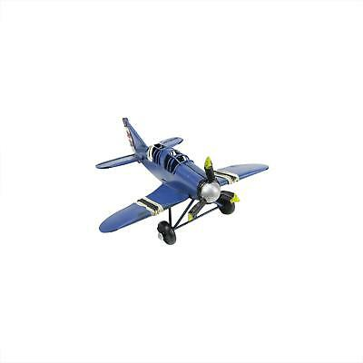 """6.5"""" Vintage-Style Blue Airplane with Red, White and Black Stripes Decorative Ch"""