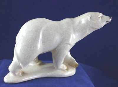 "Large Polar Bear ""Tunnie"" Sniffing the Air - Made to Look Like Hand Carved Stone"