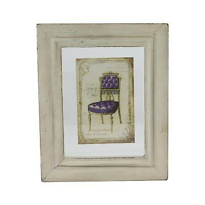 """7.25"""" x 6"""" Decorative Antique Style Beige and Purple Victorian Chair Print Frame"""
