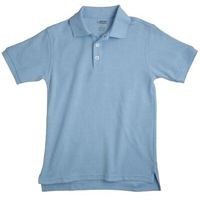 School Uniforms Light Blue S/S Polo Shirt French Toast 7 Unisex Cotton Blend