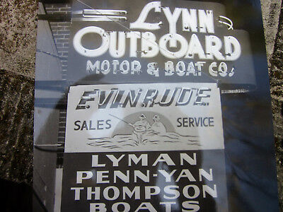 Vintage 1940's Evinrude Motors Thompson Boats Neon Dealership Sign Photo lyman