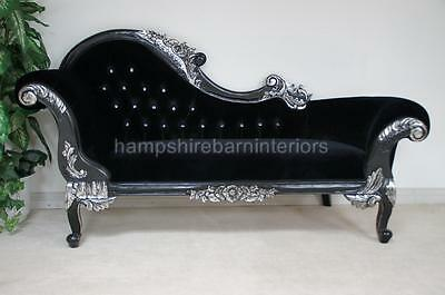 Chaise Left Hand Chaise Black W Light Silvered Details Velvet & Crystal Buttons