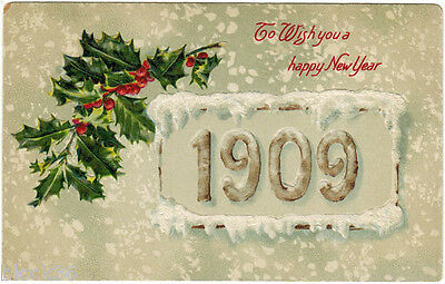 1909 New Year Embossed postcard English Language Greetings, published in Germany