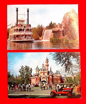 Two Disneyland Postcards Mark Twain's Steamboat Sleeping Beauty's Castle wkc1