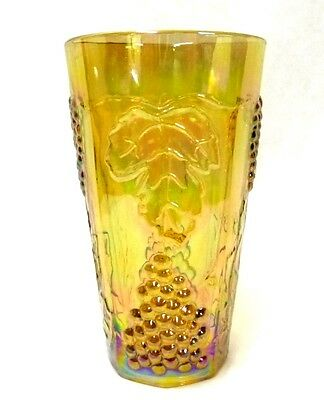 Carnival Glass Amber Harvest Fruit Opalescent Iridescent Drinking Glass Vintage