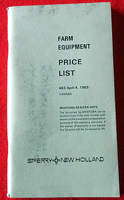 Sperry New Holland Farm Equipment Price List for Canadian Equipment 1983 c