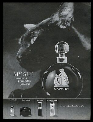 1966 black cat GREAT photo My Sin perfume powder spray extract vintage print ad