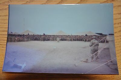 Iraqi Freedom OIF 1st Armored Photograph 5 x 7 Large group gathered in the base
