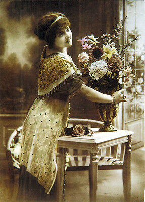 WOMAN WITH LARGE BOUQUET OF FLOWERS Modern Russian postcard