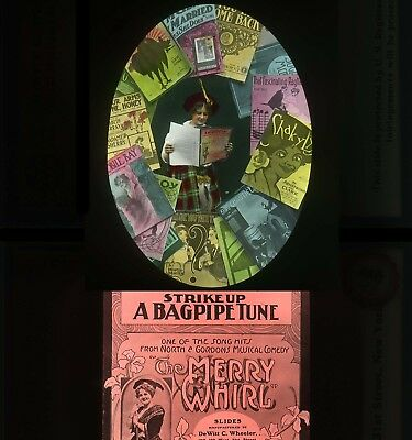"1 Set Of 9 ""strike Up A Bagpipe Tune"" From ""a Merry Whirl"" Magic Lantern Slides"