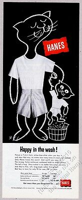 1956 cat dad and kitten cute art Hanes underwear t-shirt boxer shorts print ad