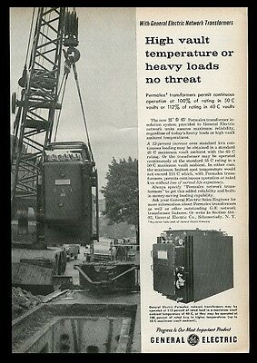 1960 General Electric Permalex network transformer photo vintage print ad