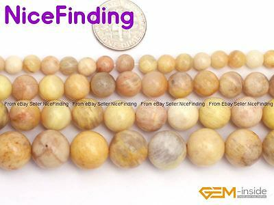 """Natural Round Yellow Sunstone Loose Gemstone Beads For Jewelry Making Beads 15"""""""