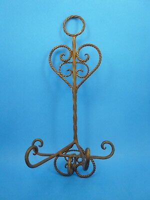 Antique Victorian Primitive Twisted Heart Wrought Iron Wall Coat Untensil Hanger