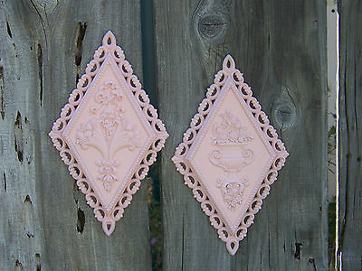 2 Vintage Homco PINK ~ ShabBy ~ CoTTage ~ CHic ~ Diamond Shape Wall Plaques