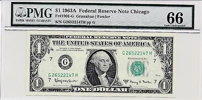 $1 1963A Federal Reserve Note Chicago S/N G26522147H PMG 66 Gem Unc