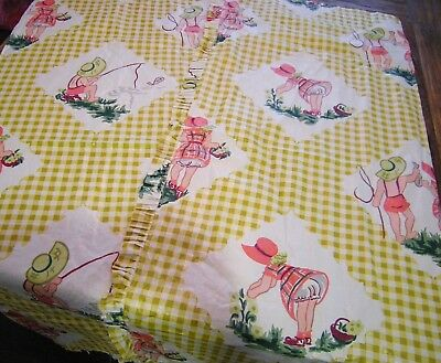 Vtg 1940's Polished Cotton Fabric Juvenile Print Little Girl & Boy Yellow Pink