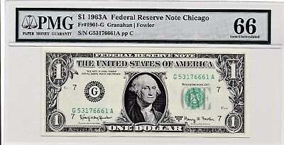 $1 1963A Federal Reserve Note Chicago S/N G53176661A PMG 66 Gem Unc