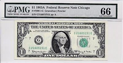 $1 1963A Federal Reserve Note Chicago S/N G21605151E PMG 66 Gem Unc