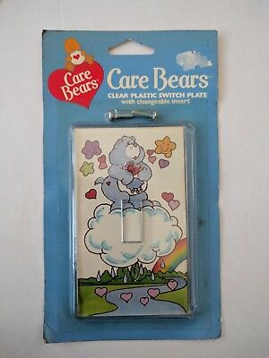 NIP NOS Vintage 80's Care Bears Switch Plate Cover Grumpy Bear Rainbow Decor