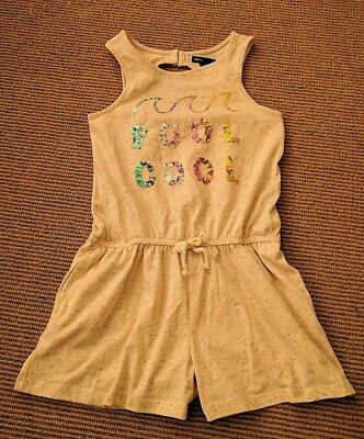 Gap 8 years Summer Shorts Romper Open Back Oatmeal Heathered Pool Cool Sequins