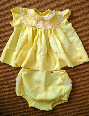Vtg 60's Li'l Angel Montreal Baby Dress & Bloomers Yellow Blue Embroidery Lace